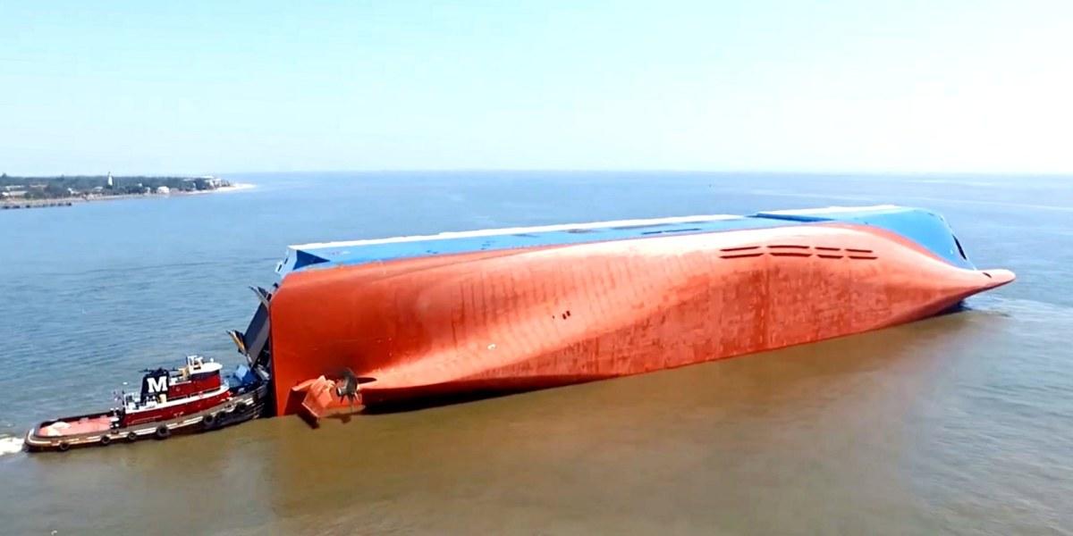 Drone video of capsized cargo ship off the coast of Georgia