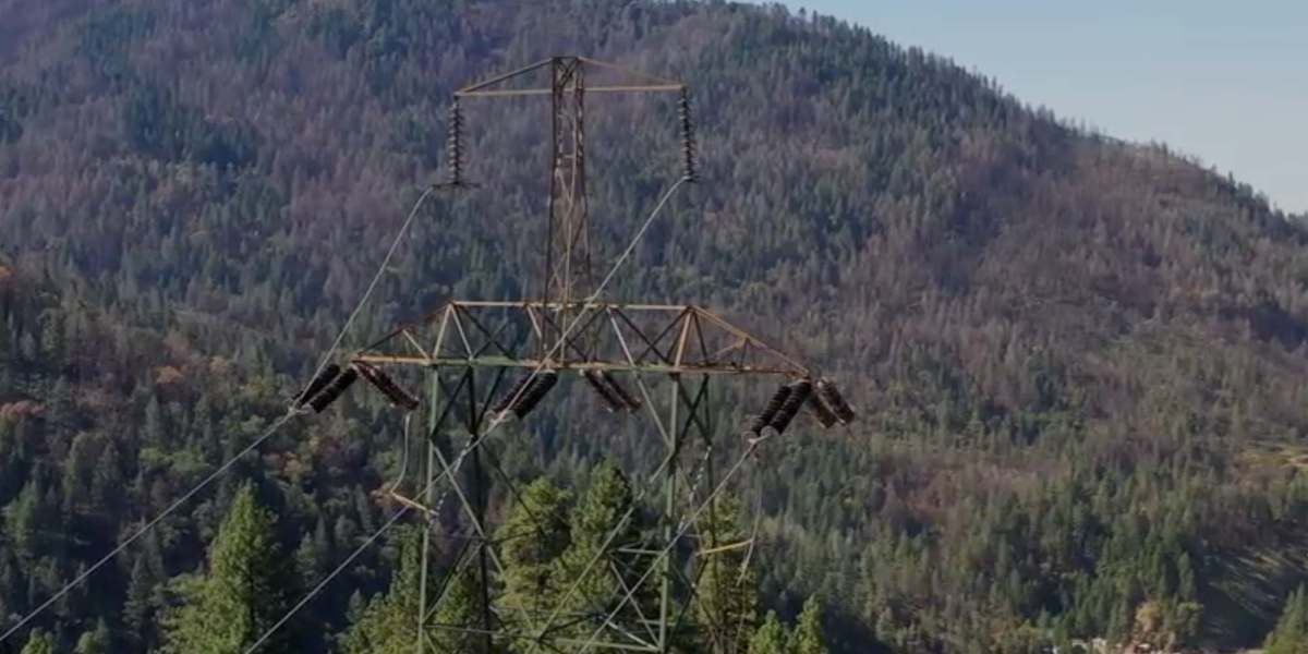 Drone footage shows the aging PG&E transmission towers in California