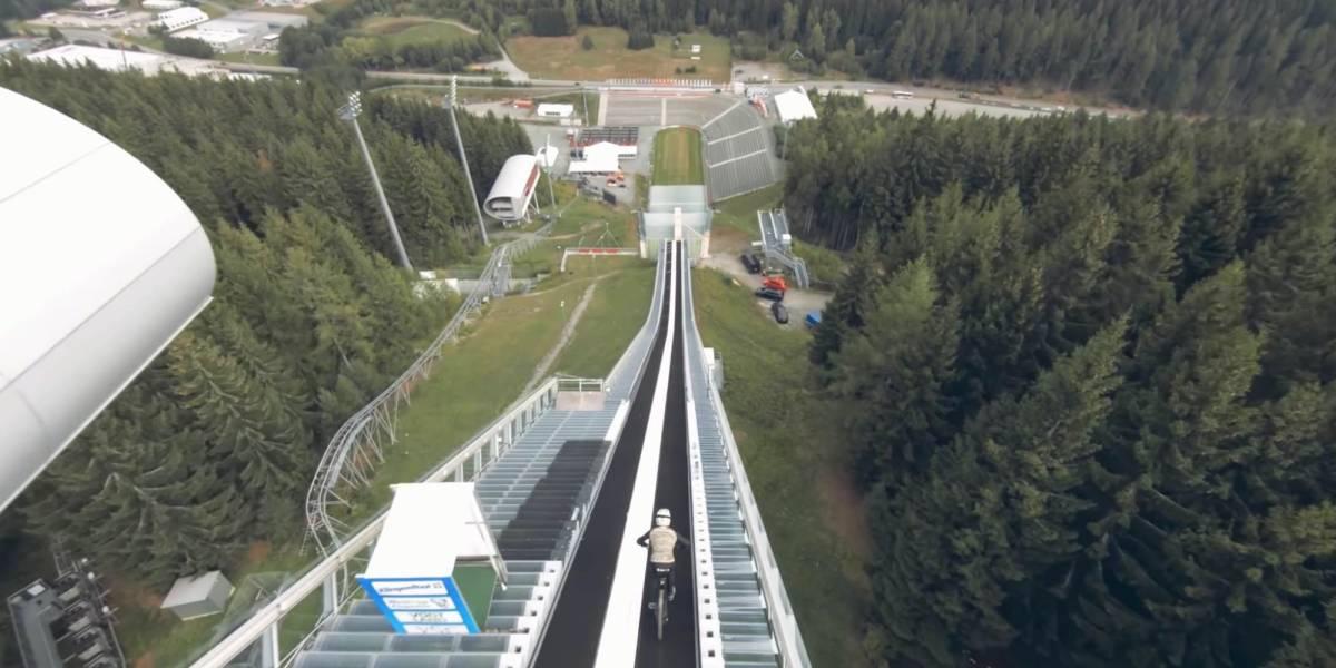 FPV drone films world record MTB jump attempt of a ski jump!