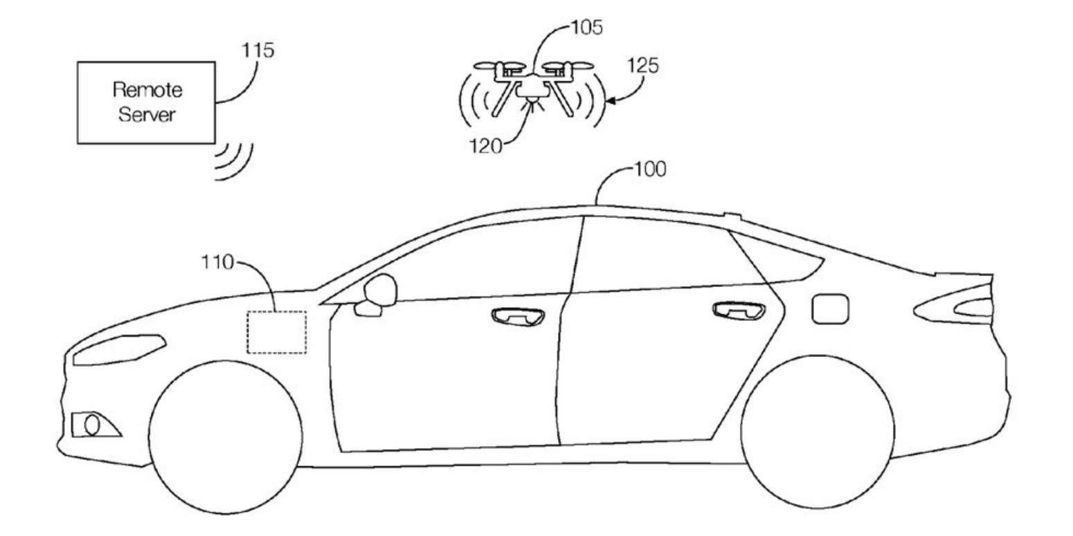 Ford patents drone that flies out of trunk in case of an