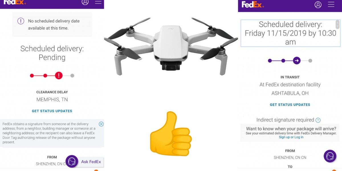 DJI Mavic Minis stuck in customs are moving again - First deliveries scheduled today