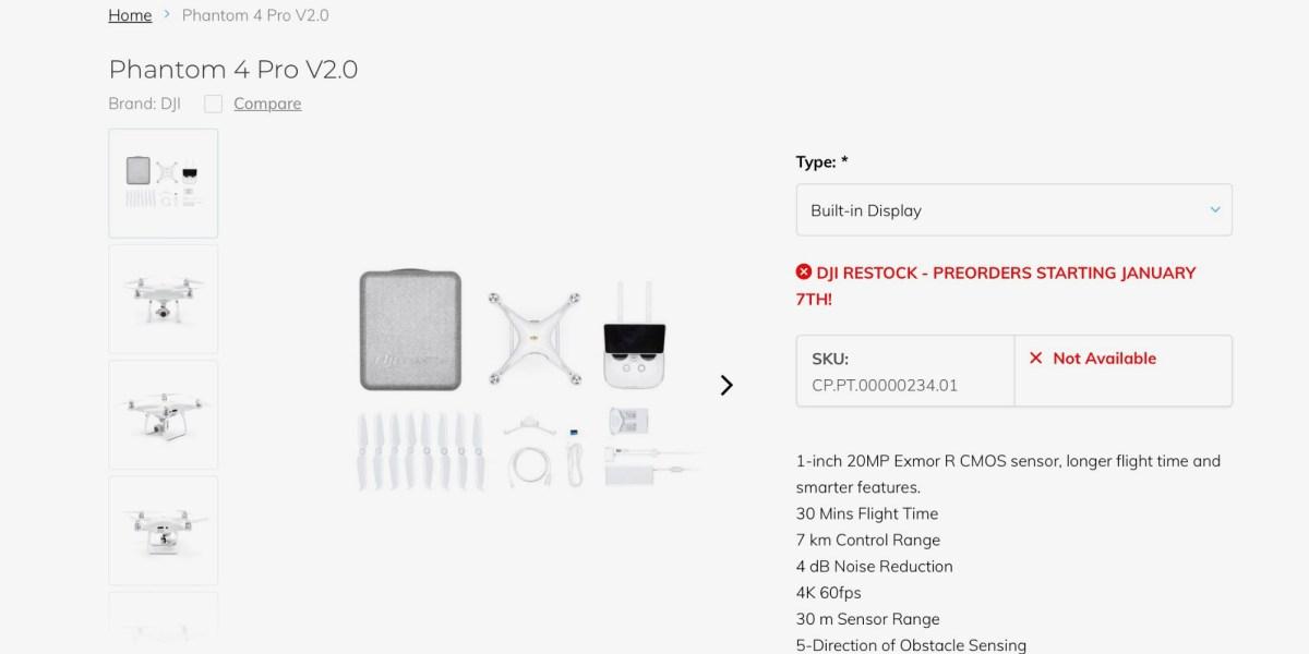 DJI Phantom 4 Pro V2.0 restocking - Pre-orders start January 7th, 2020