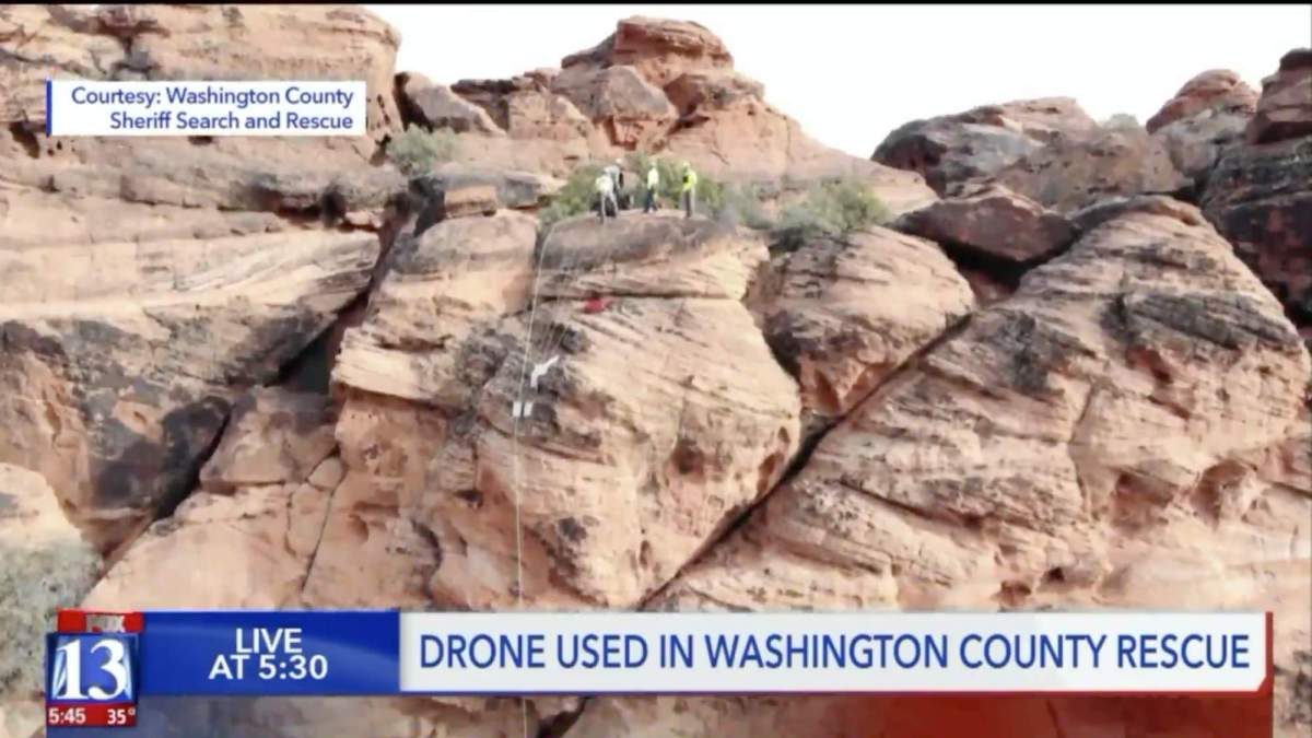 Drone helps hurt hiker rappel 400 ft during rescue Snow Canyon State Park