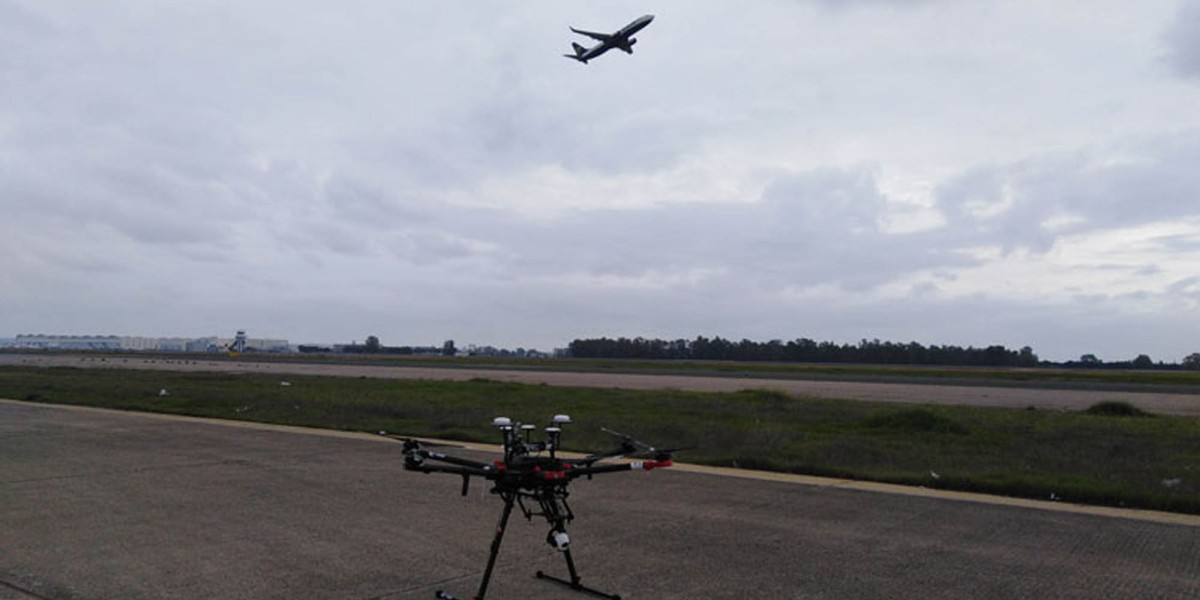Drones inspect Seville Airport airfield