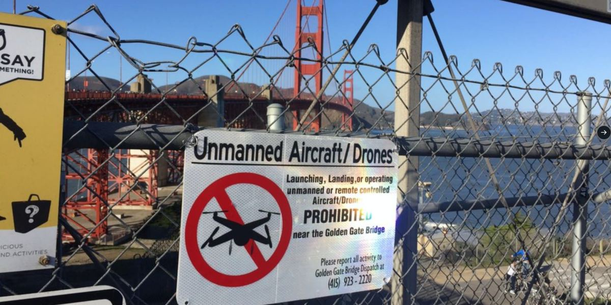 Illegal drone flights and crashes at the Golden Gate Bridge