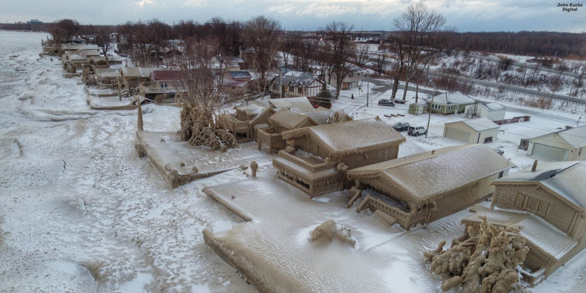 drone footage houses Lake Erie ice
