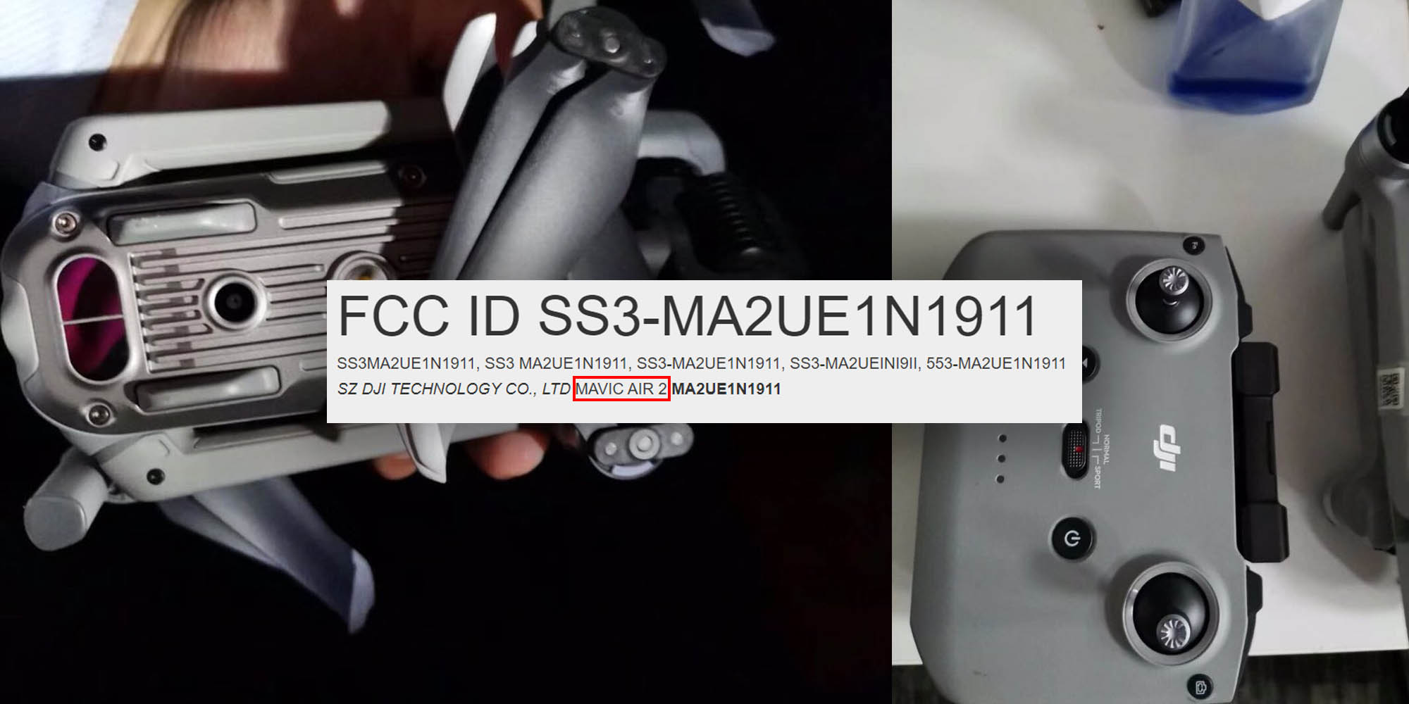 photo of DJI Mavic Air 2 appears on the FCC's database image