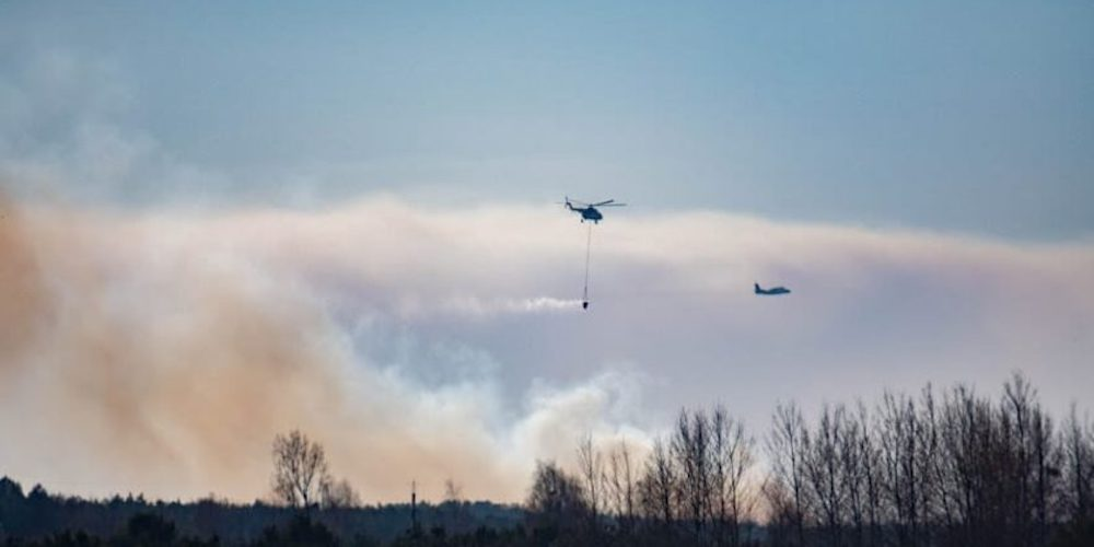 drones chernobyl fire