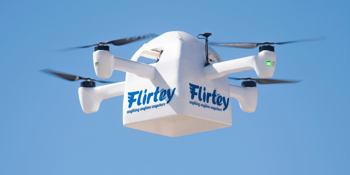 Flirtey drone delivery patent pre-orders production