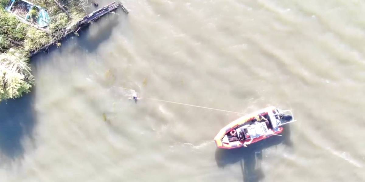 Drone save father river