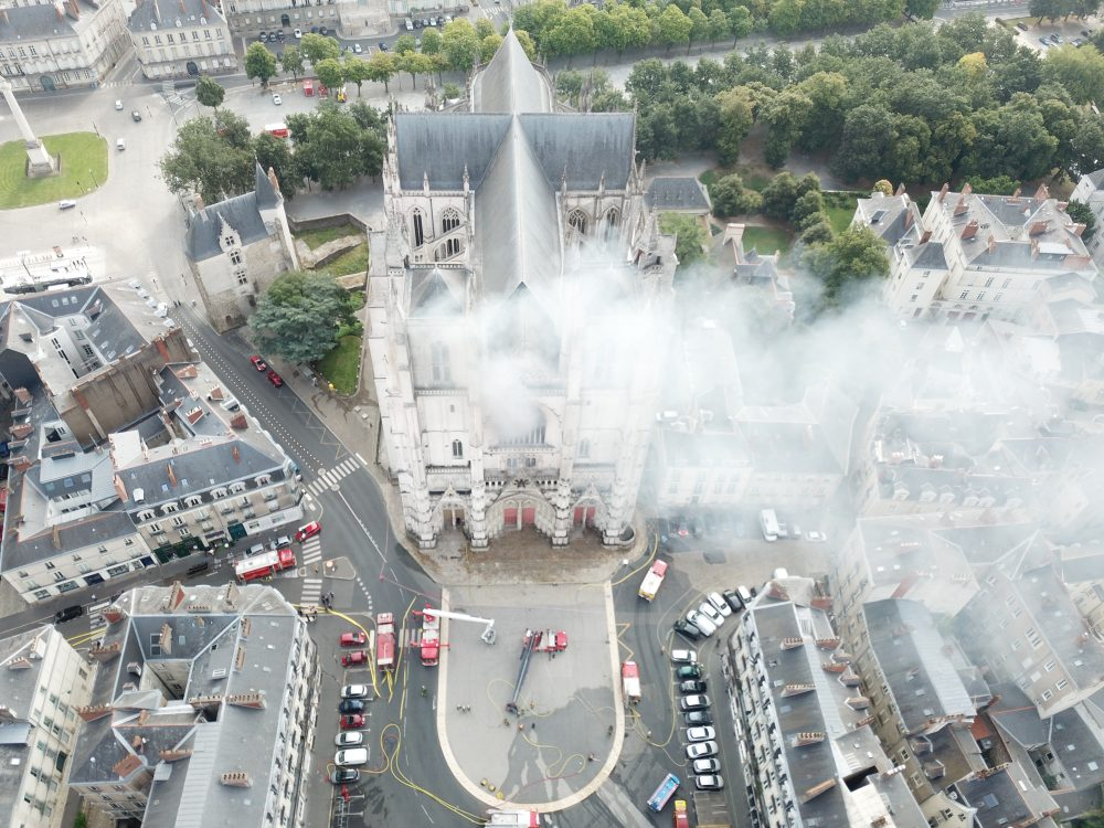 Nantes Cathedral Fire as seen by drone