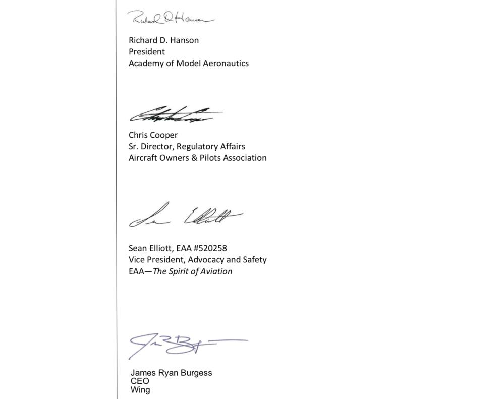 FAA letter signatories