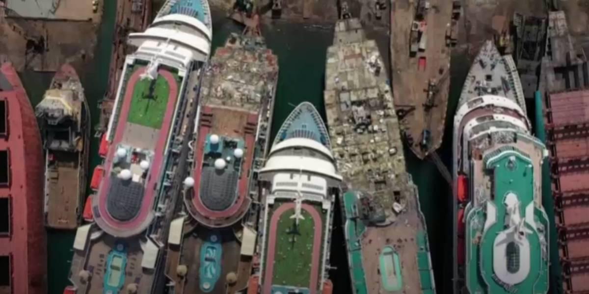 Drone video COVID's cruise ship