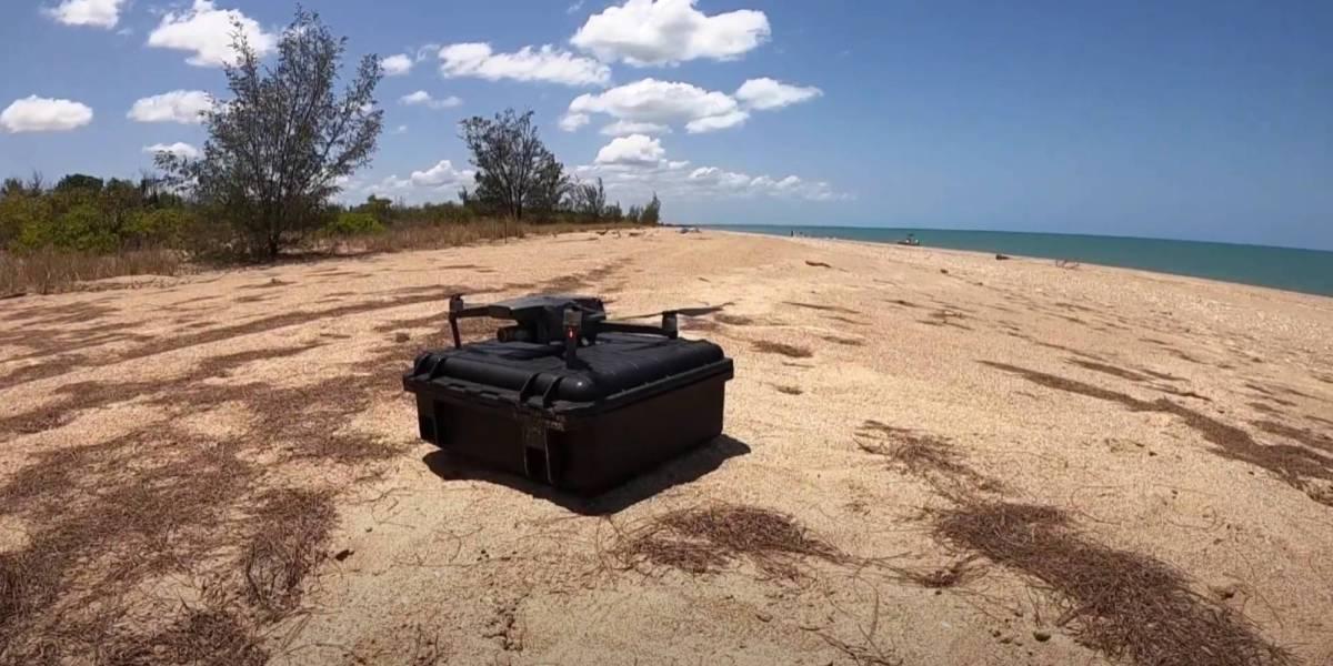 Researchers drones box jellyfish