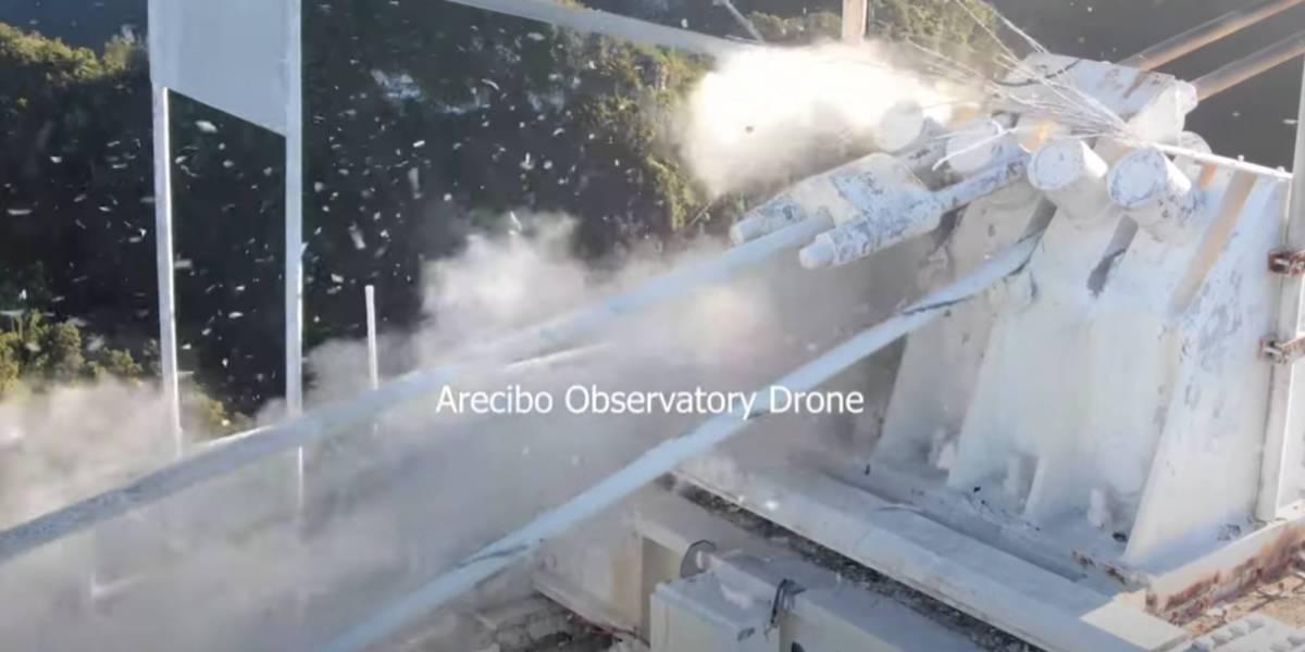 Arecibo telescope collapse video drone