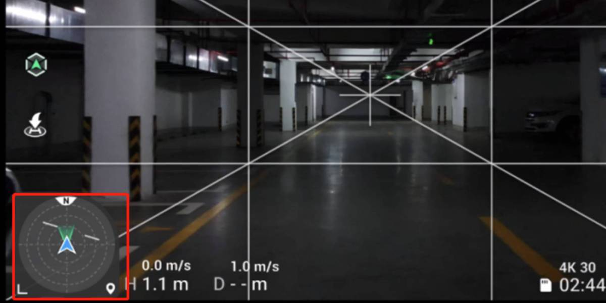 DJI Fly app compass-style tracker