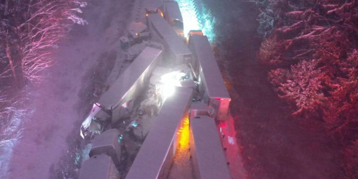 Drone photos 55 truck snowstorm