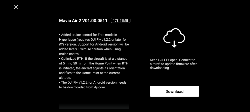 DJI Mavic Air 2 update