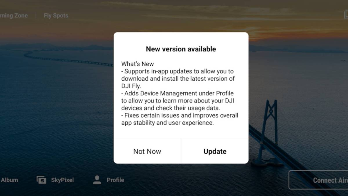 DJI Fly app update Android