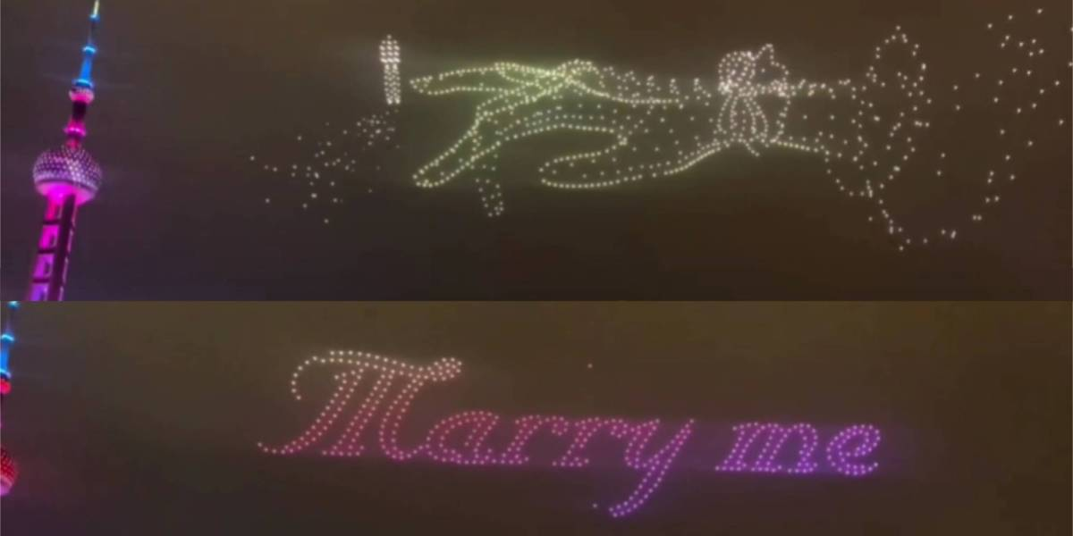 Marriage proposal drone show