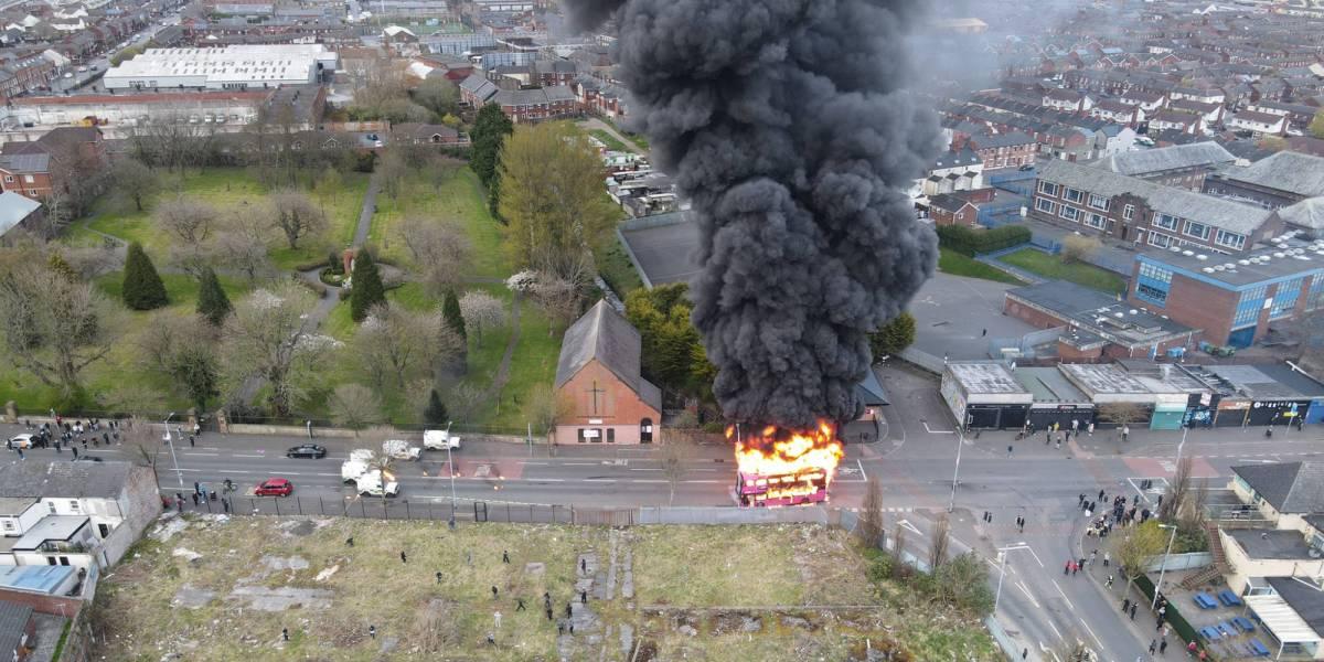 Drone footage Belfast riot