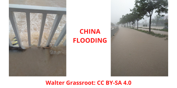 Drone videos China flooding