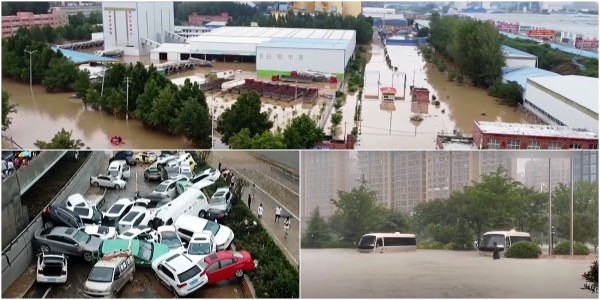 china floods drone videos