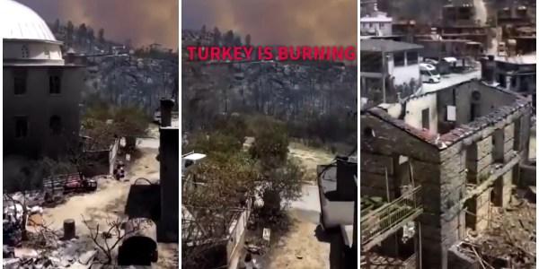 turkey wildfires drone