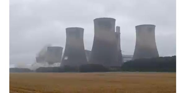 Drone video power plant demolition