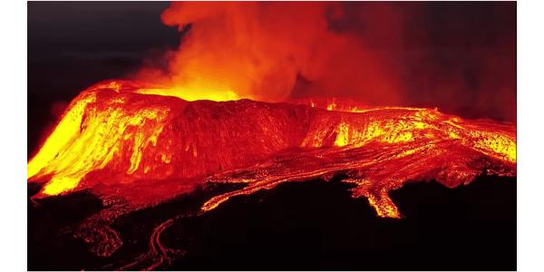 Drone video laval volcano